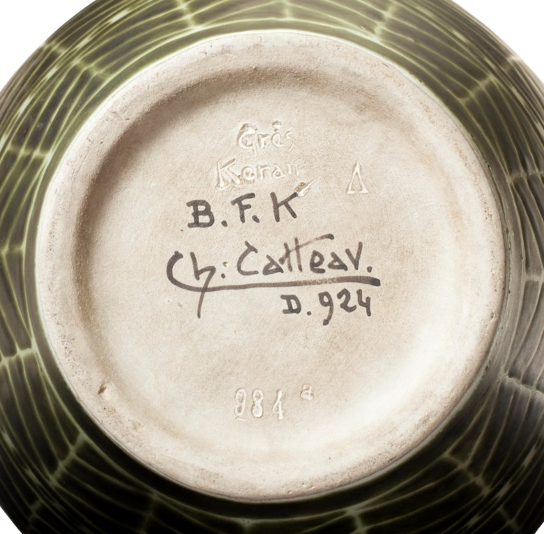 A Boch Frères Keramis vase marked D. 924 and signed Ch. Catteau