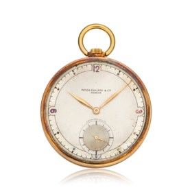 PATEK PHILIPPE, 18K POCKET WATCH WITH TWO-TONE DIAL SIGNED E
