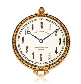 PATEK PHILIPPE, 18K GOLD POCKET WATCH WITH CASE AND DIAL BY