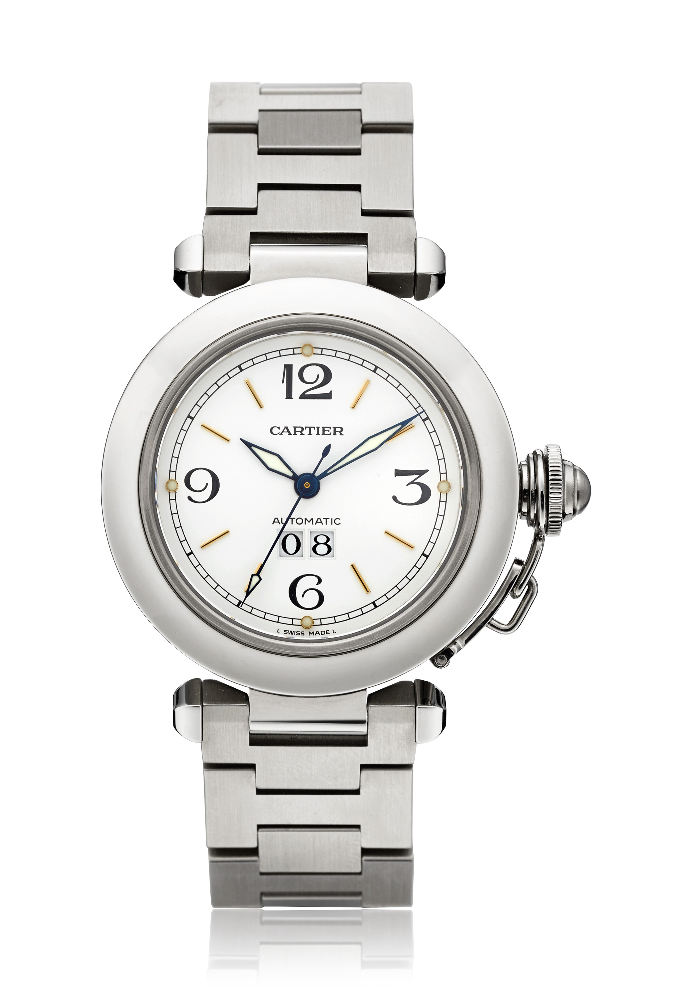 CARTIER, STAINLESS STEEL PASHA