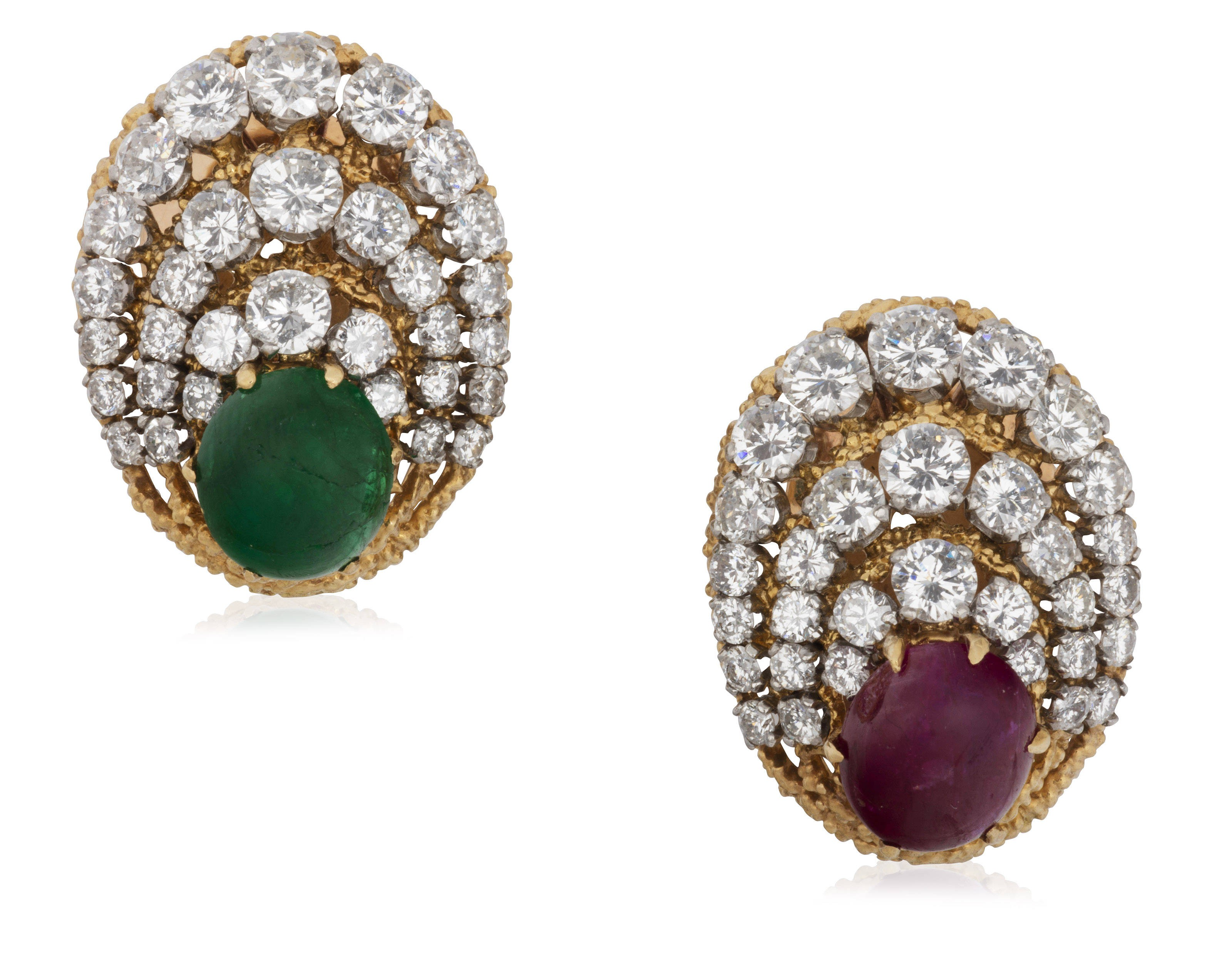 Van Cleef Arpels Emerald And Ruby Diamond Earrings