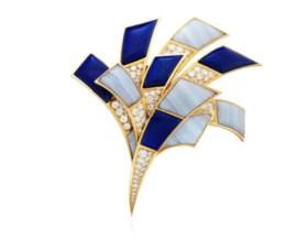 BULGARI LAPIS LAZULI, AGATE AND DIAMOND BROOCH