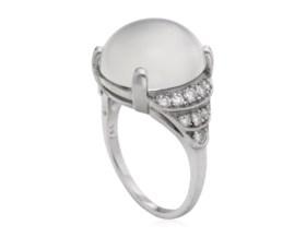 CAT'S-EYE MOONSTONE AND DIAMOND RING