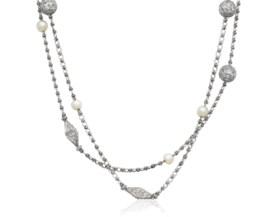 ANTIQUE PEARL, DIAMOND AND PLATINUM NECKLACE