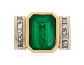 EMERALD AND DIAMOND RING WITH AGL REPORT