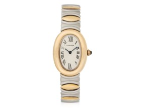 CARTIER 'BAIGNOIRE' GOLD AND STAINLESS STEEL WATCH