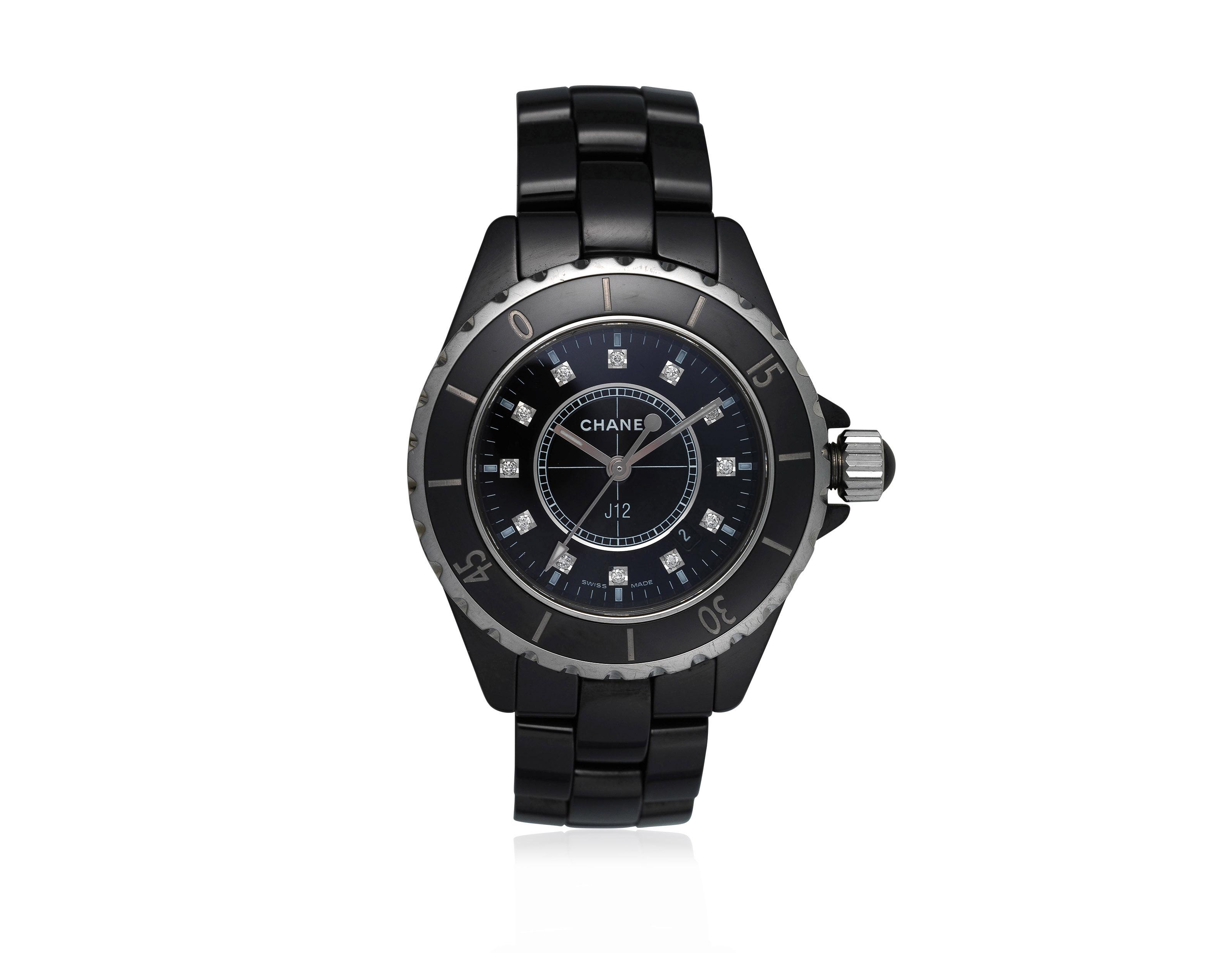 Chanel J12 Diamond And Black Ceramic Watch