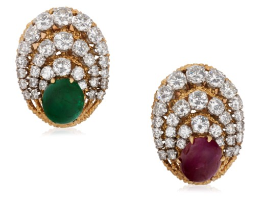 Van Cleef Arpels Emerald Ruby And Diamond Earrings