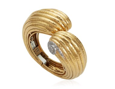 David Webb gold and diamond bangle bracelet. Sold for $13,750 on 6 December 2018, online