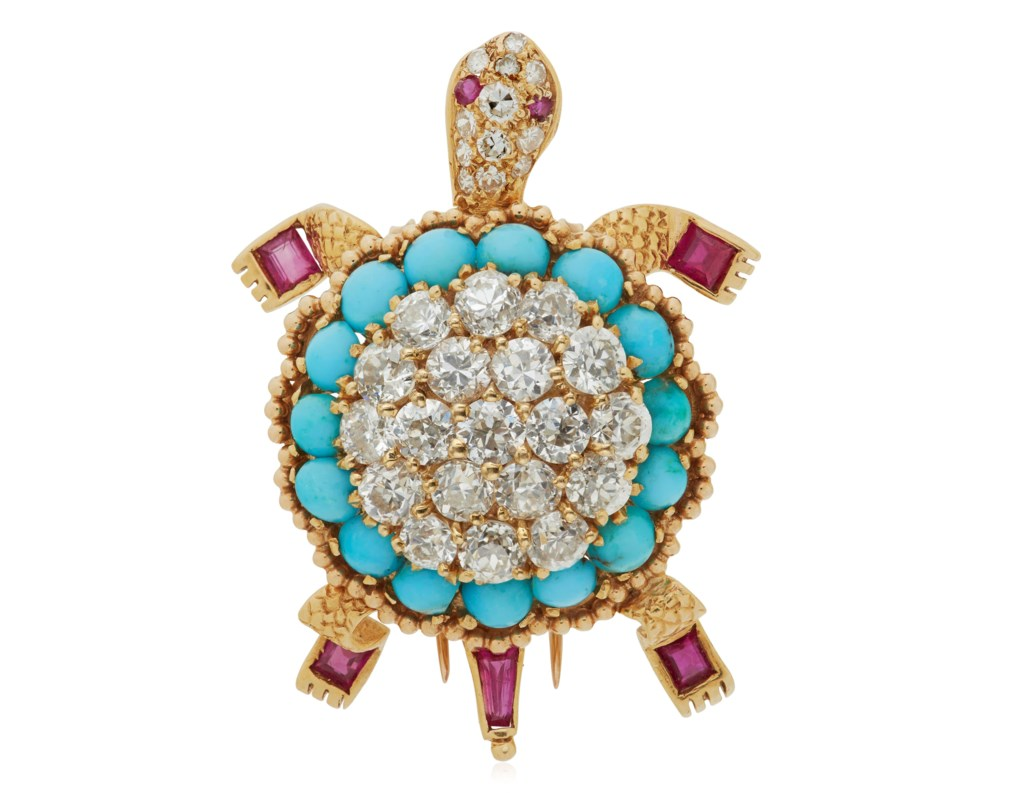 VAN CLEEF & ARPELS DIAMOND, TURQUOISE AND RUBY TURTLE BROOCH