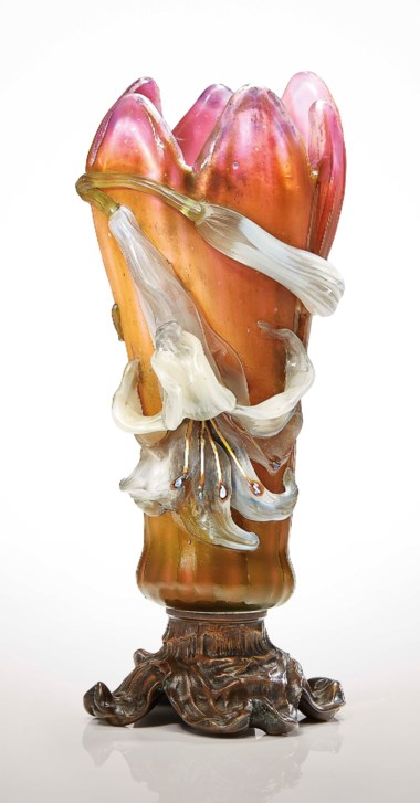 Émile Gallé (1846-1904), A 'LYS' vase, 1900-1903. 12 ¾  in (32.5  cm) high. Estimate $350,000-550,000. Offered in Masterpieces in Glass The Nakamoto Collection on 13 December 2018 at Christie's in New York