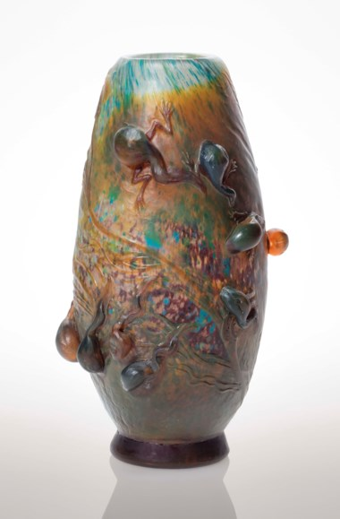 Émile Gallé (1846-1904), A 'Têtards' vase, circa 1900. 7  in (18  cm) high. Estimate $100,000-150,000. Offered in Masterpieces in Glass The Nakamoto Collection on 13 December 2018 at Christie's in New York