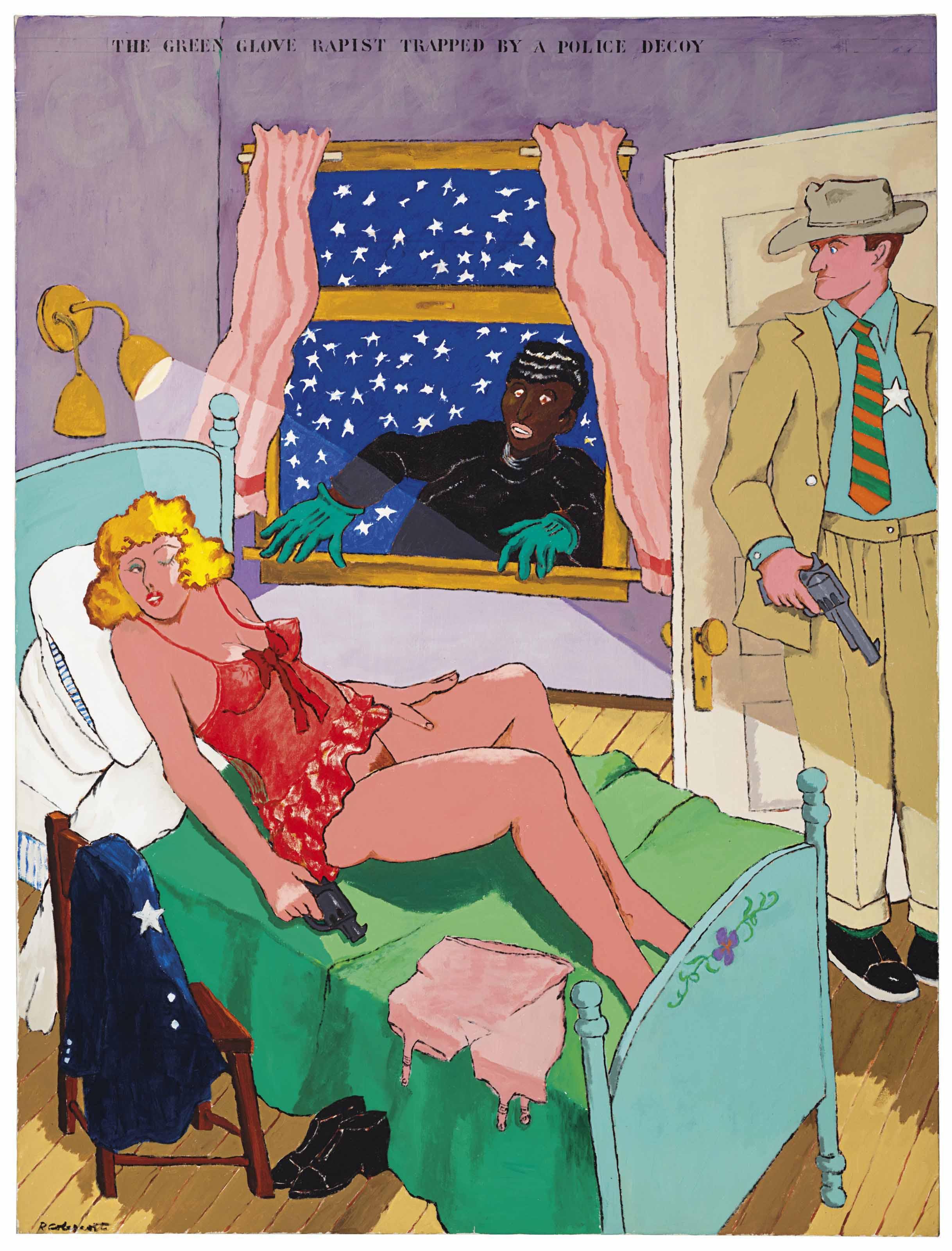 Colescott's painting, Green Glove Rapist