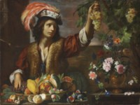 A boy holding a bunch of grapes, with a melon, squash, figs and other fruit and a vase of tulips, morning glory and other flowers in a walled garden