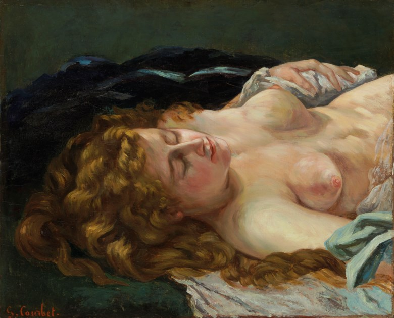 Gustave Courbet (French, 1819-1877), Femme endormie aux cheveux roux, painted in 1864. 22⅜ x 27 ½  in (56.8 x 69.9  cm). Estimate $3,500,000-4,500,000. This lot is offered in European Art Part I on 31 October 2018 at Christie's in New York