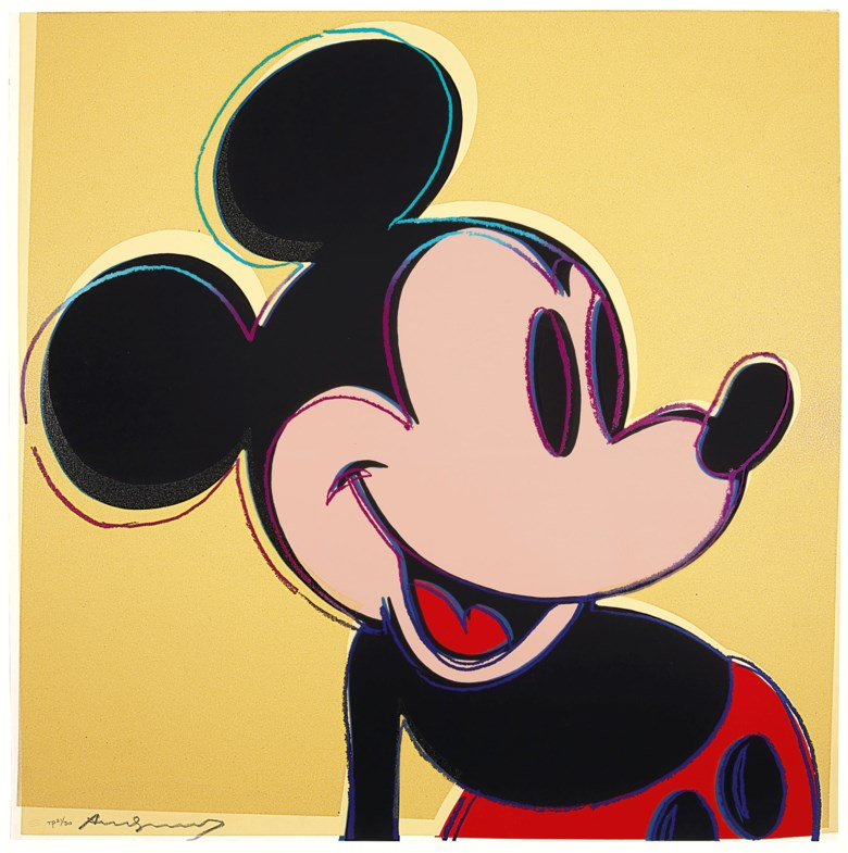 Andy Warhol (1928-1987), Mickey Mouse, from Myths. Sheet 38 x 37⅞  in (965 x 962  mm). Estimate $250,000-350,000. This lot is offered in Prints & Multiples on 23-25 October 2018 at Christie's in New York © 2018 The Andy Warhol Foundation for the Visual Arts, Inc.  Licensed by Artists Rights Society (ARS)