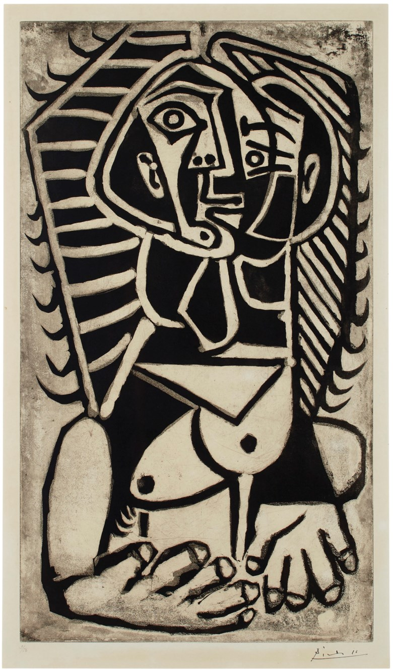 Pablo Picasso (1881-1973), Torse de femme (LEgyptienne). Sheet 35⅞ x 25  in (911 x 635  mm). Estimate $100,000-150,000. This lot is offered in Prints & Multiples on 23-25 October 2018 at Christie's in New York © 2018 Estate of Pablo Picasso  Artists Rights Society (ARS), New York