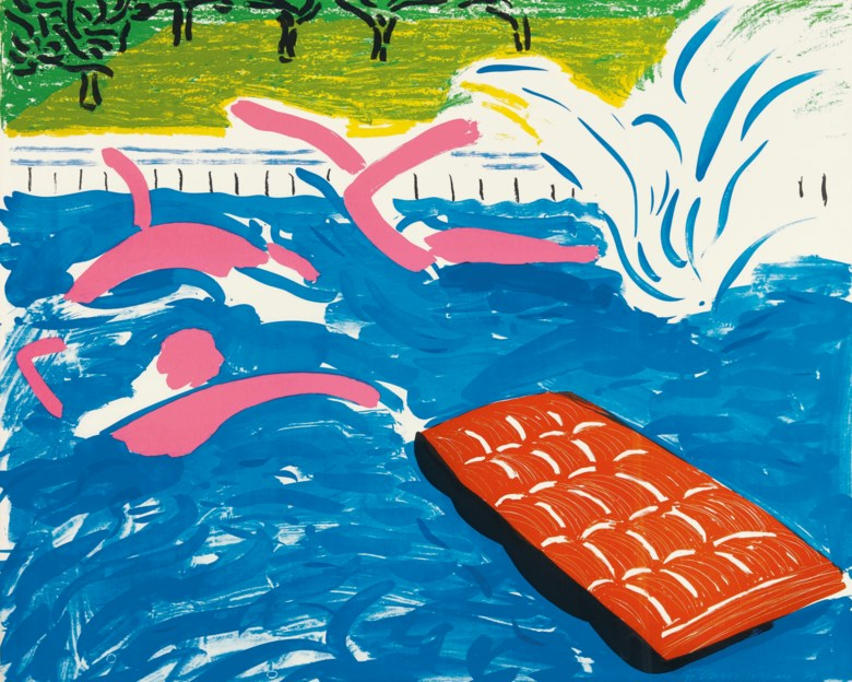 David Hockney (b. 1937), Afternoon Swimming. Sheet 31⅝ x 39 ½  in (803 x 1003  mm). Estimate $60,000-80,000. This lot is offered in Prints & Multiples on 23-25 October 2018 at Christie's in New York © David Hockney