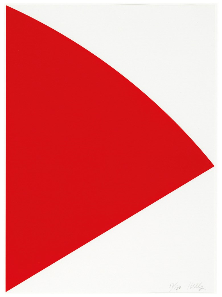 Ellsworth Kelly (1923-2015), Red Curve (for Joel). Sheet 22 x 16  in (559 x 406  mm). Estimate $5,000-7,000. This lot is offered in Prints & Multiples on 23-25 October 2018 at Christie's in New York © Ellsworth Kelly Foundation, Courtesy Matthew Marks Gallery