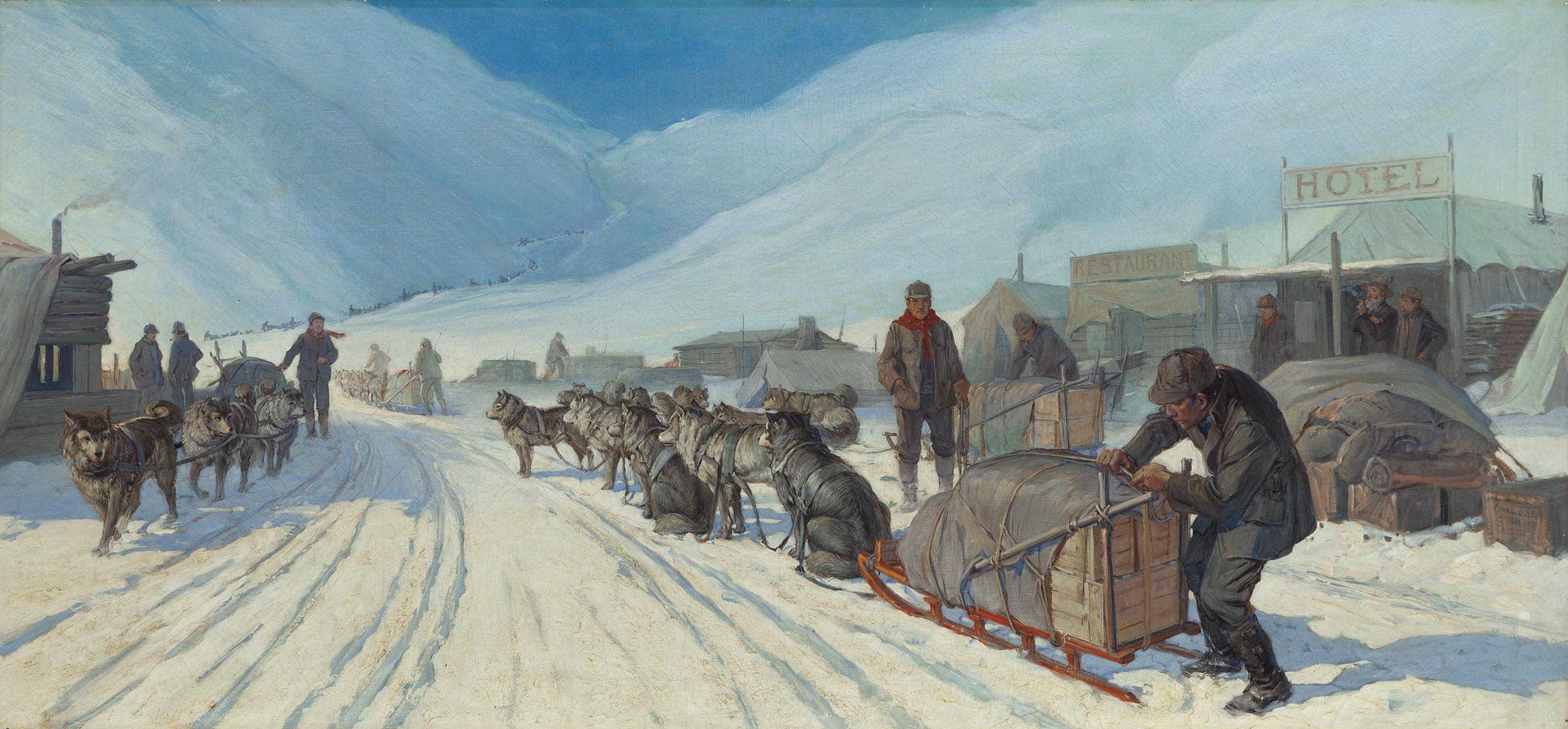Transportation in Alaska (Winter Scene with Eskimo Sled)