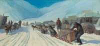Transportation in Alaska (Winter Scene with Eskimo Sled)