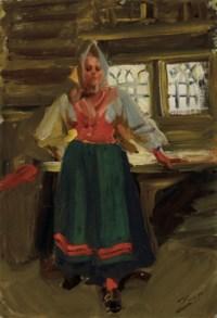 A Swedish Girl in Mora Folk Dress