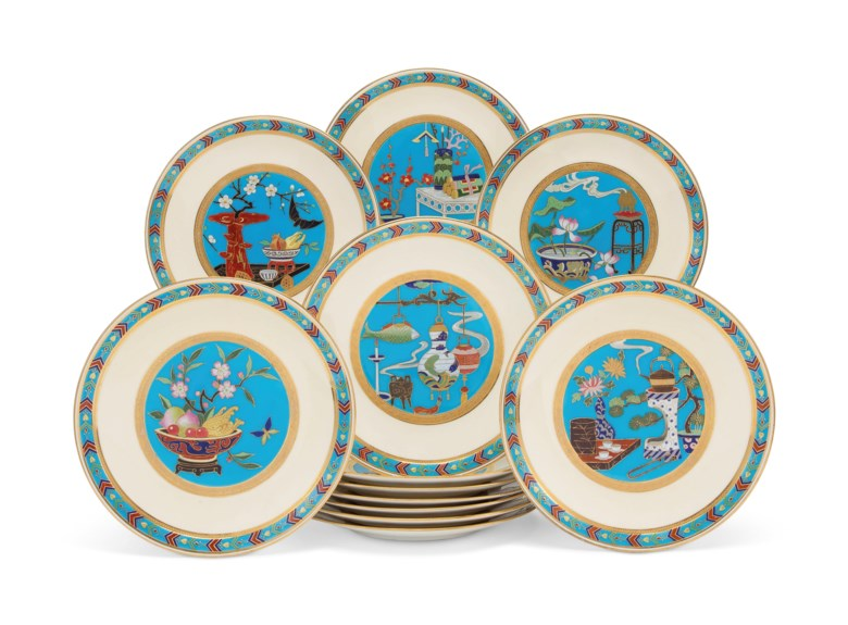Twelve Mintons porcelain turquoise-ground plates, circa 1880. 9 ½  in (24.1  cm) diameter. Estimate $6,000-8,000. This lot is offered in Interiors on 11 December 2018 at Christie's in New York