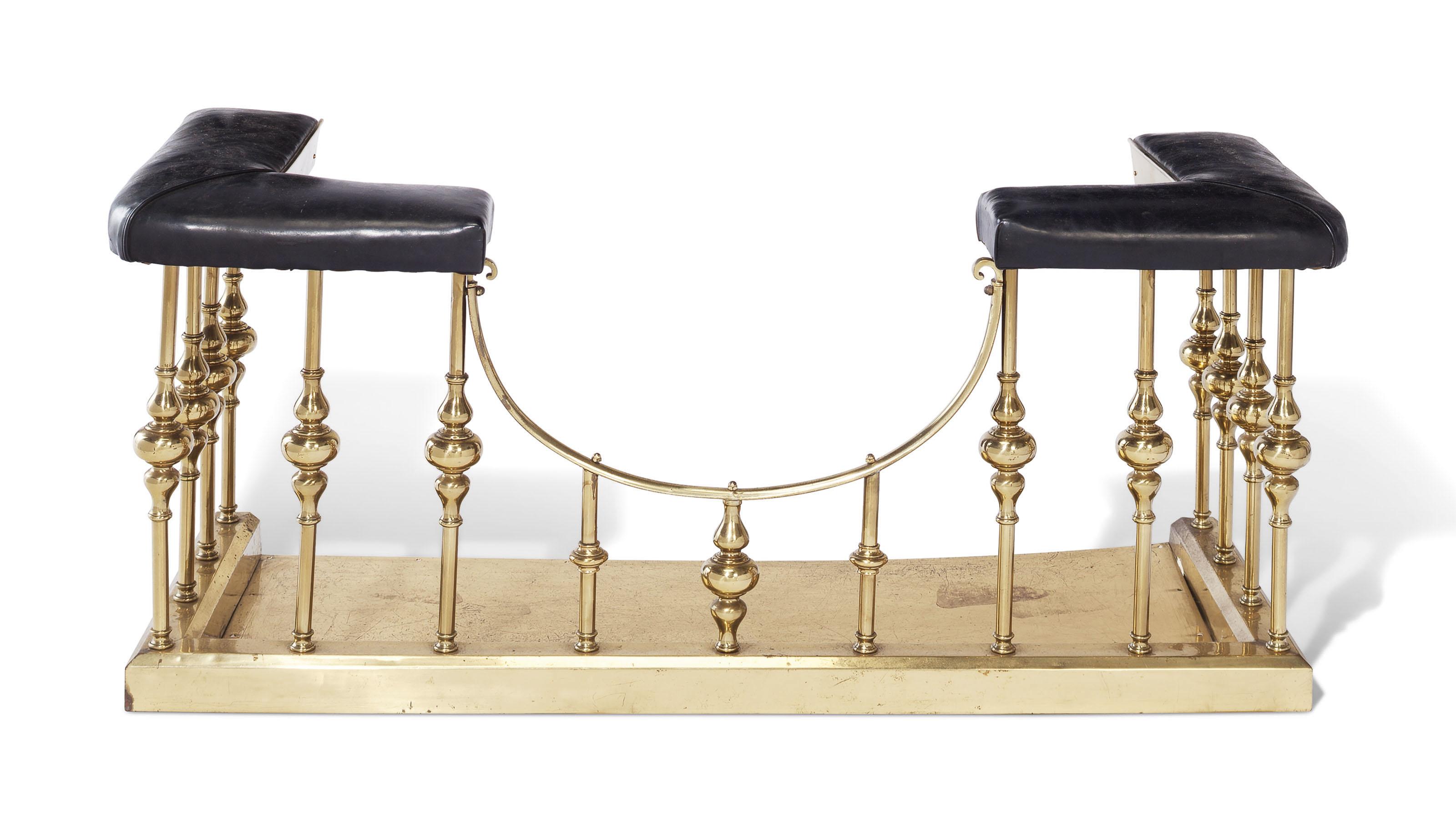 An English Brass Fireplace Fender 20th Century Furniture