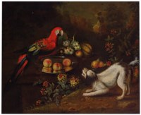 A dog and a parrot with grapes, peaches, pears and melon in a wooded landscape