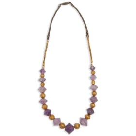 AN ANCIENT GOLD AND AMETHYST BEAD NECKLACE