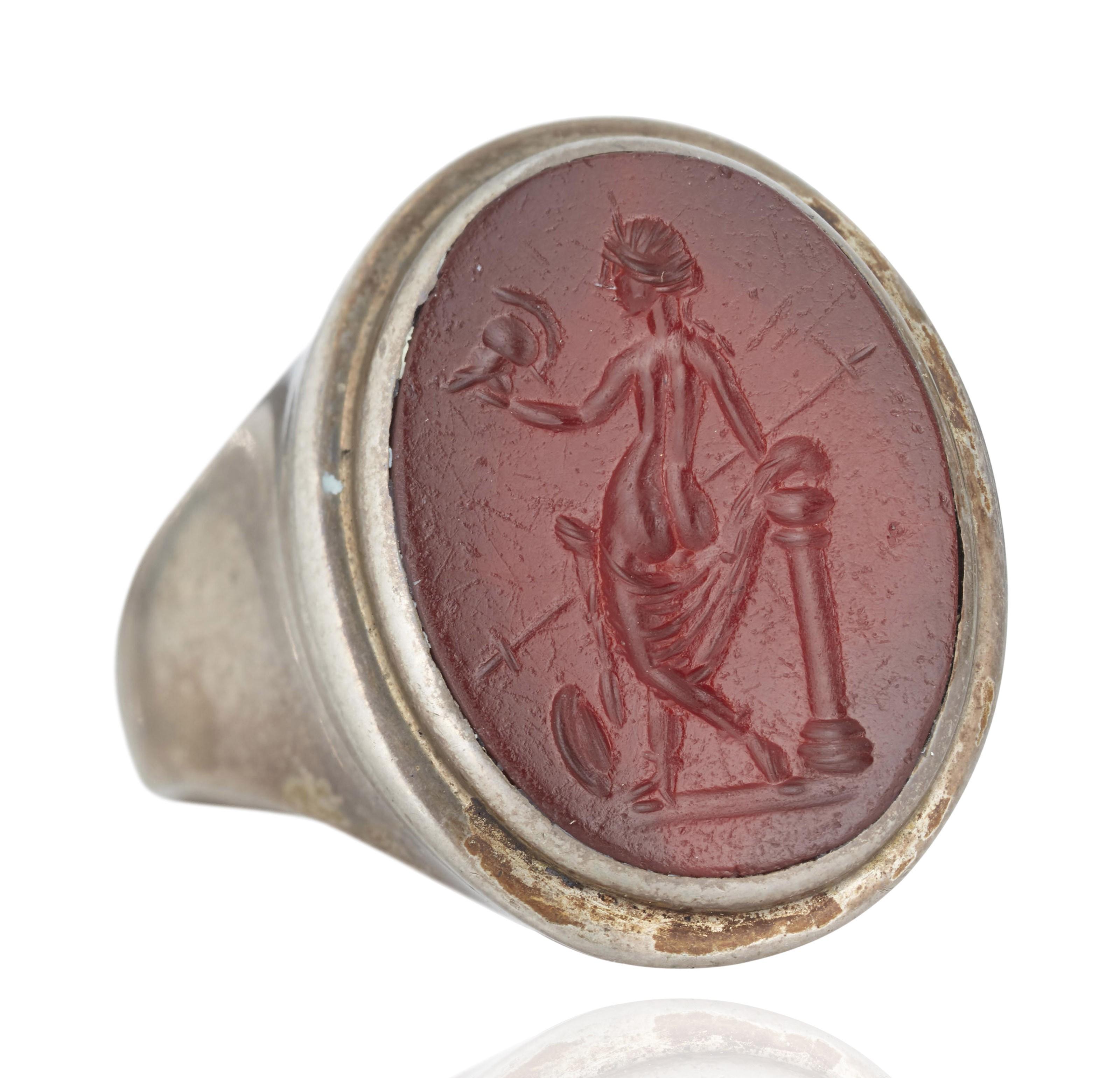 A ROMAN RED JASPER RINGSTONE WITH VENUS VICTRIX