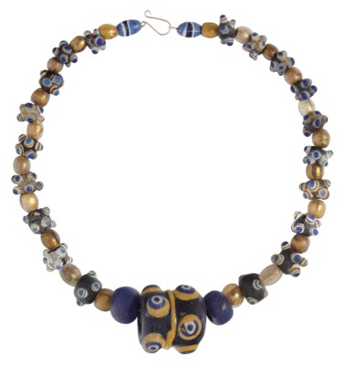 AN EASTERN MEDITERRANEAN GLASS EYE-BEAD NECKLACE