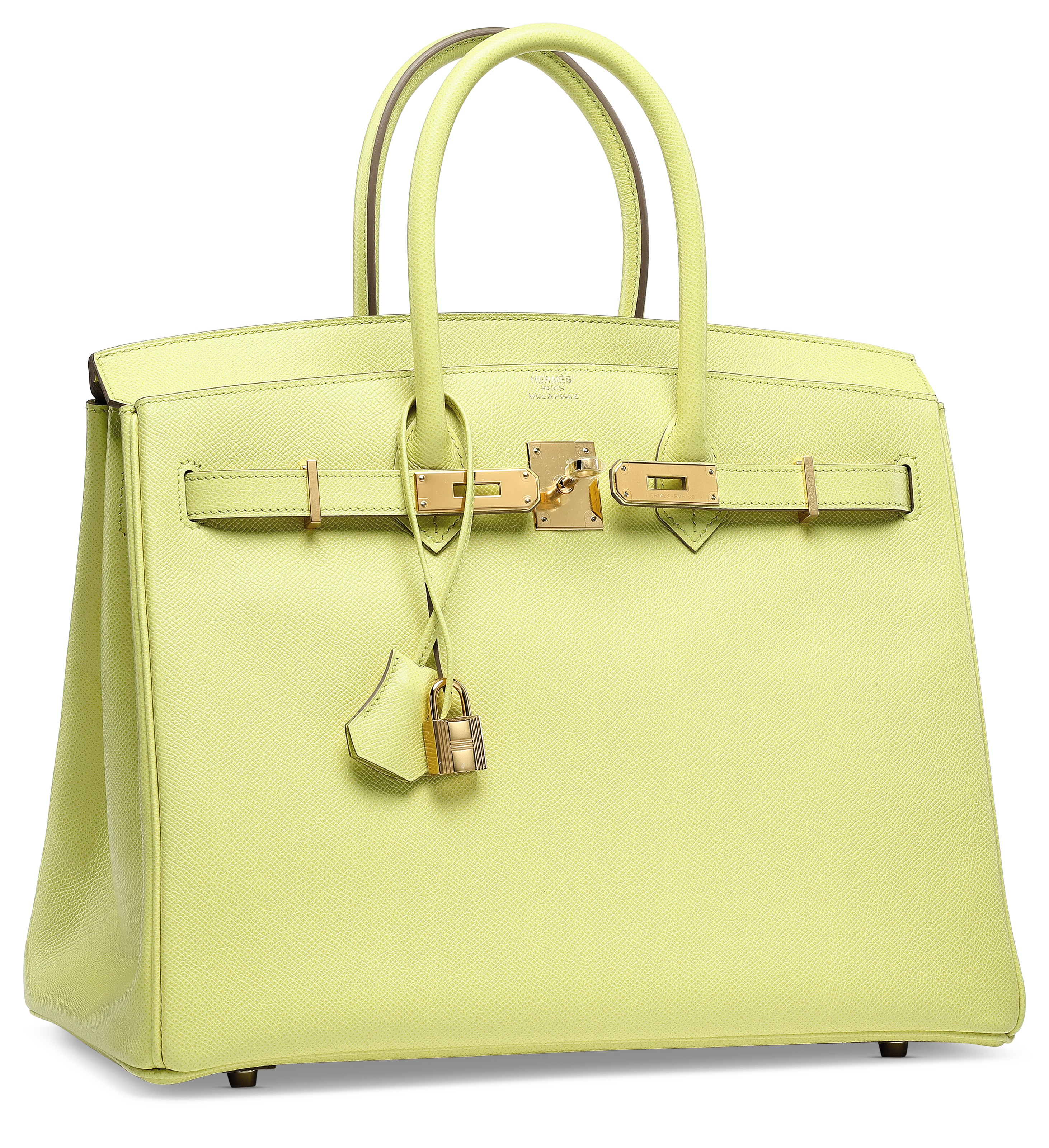A LIME EPSOM LEATHER BIRKIN 35 WITH GOLD HARDWARE