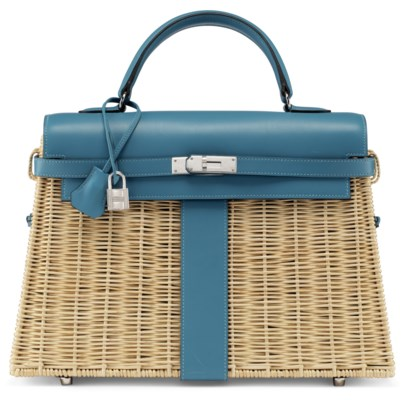 A RARE, TURQUOISE SWIFT LEATHER & OSIER PICNIC KELLY WITH PALLADIUM HARDWARE