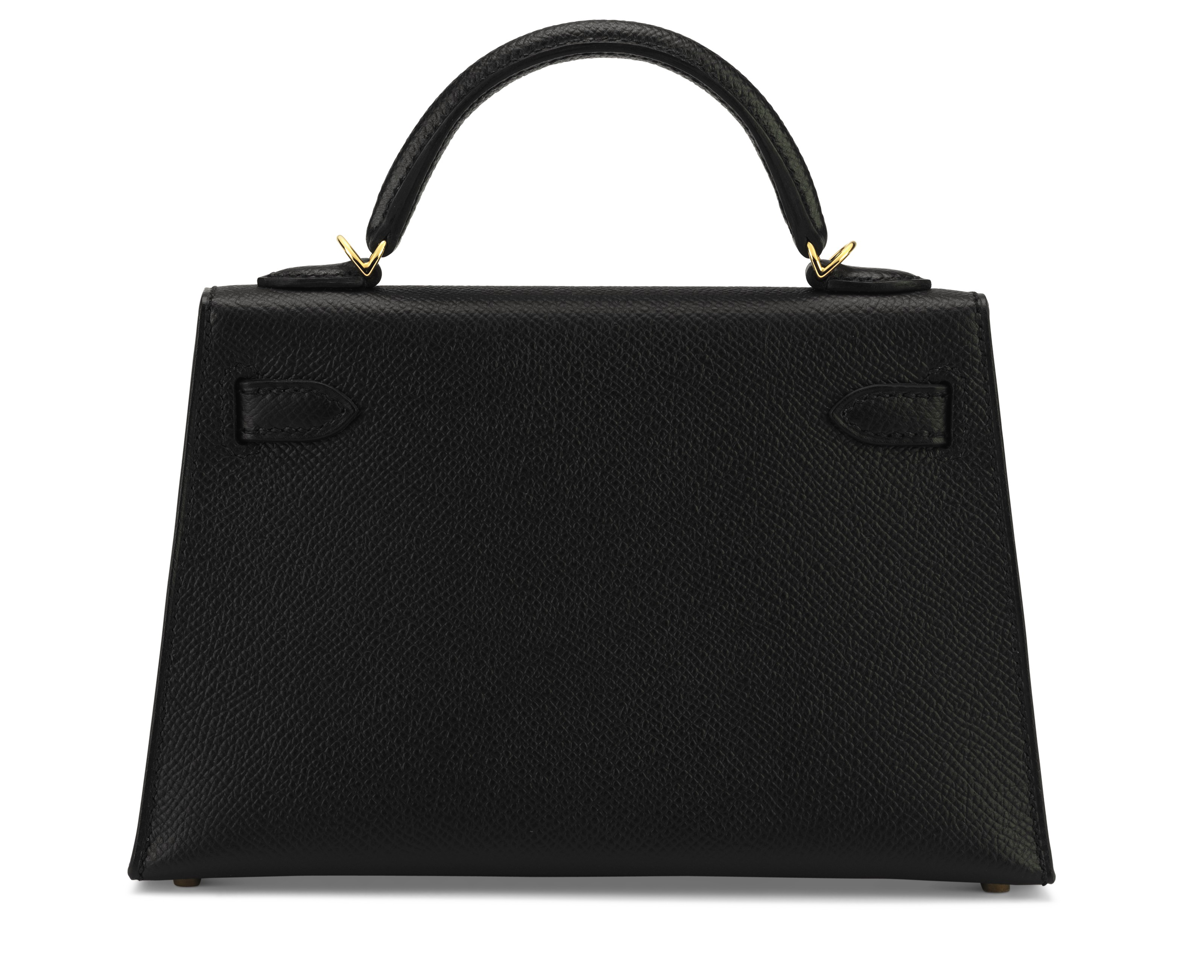 A BLACK EPSOM LEATHER SELLIER KELLY 20 II WITH GOLD HARDWARE