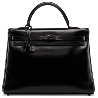 A LIMITED EDITION BLACK CALF BOX LEATHER SO BLACK RETOURNÉ KELLY 35 WITH BLACK HARDWARE