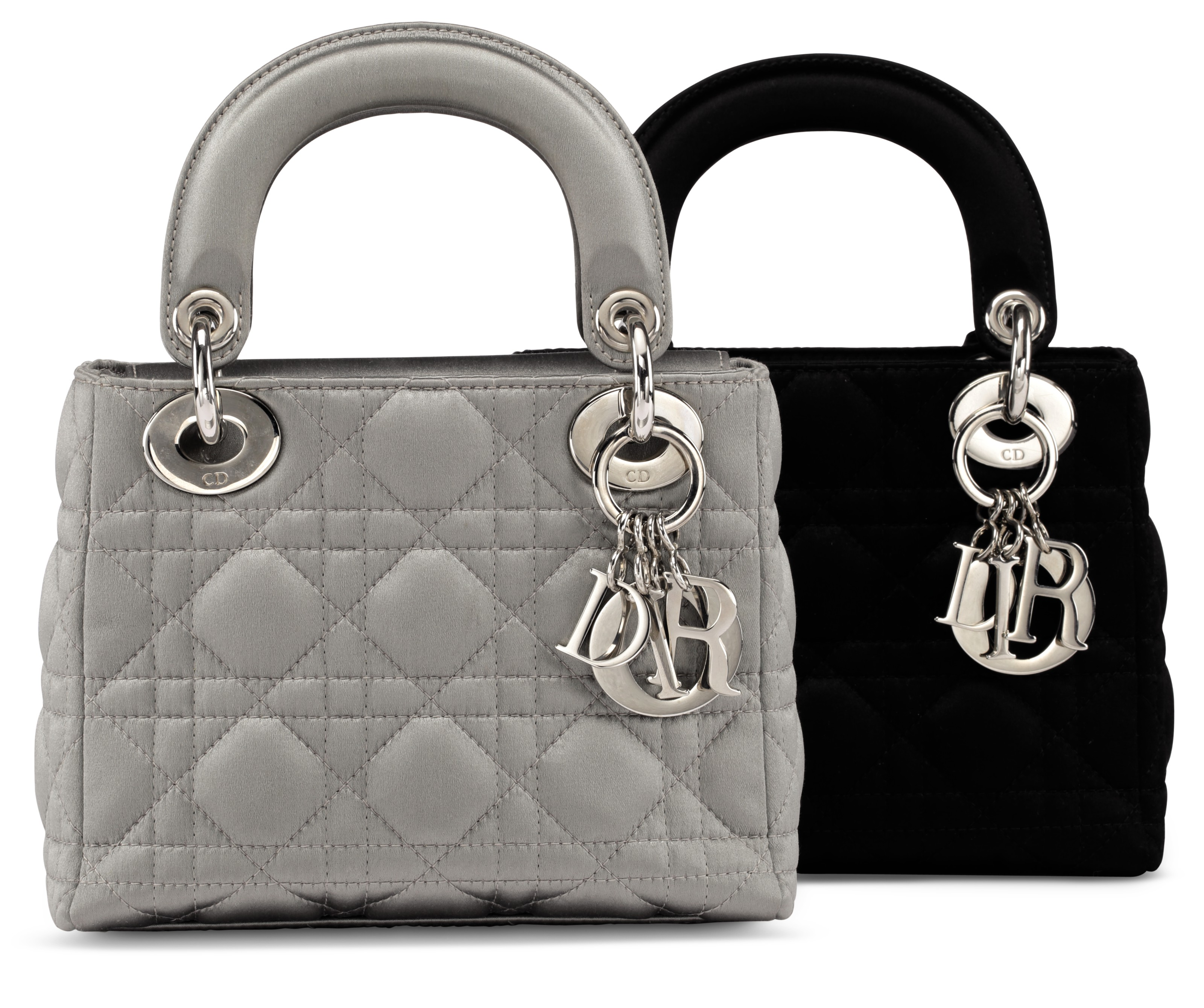 c53d2912691b A SET OF TWO A BLACK SATIN CANNAGE MINI LADY DIOR BAG WITH SILVER HARDWAREA  SILVER SATIN CANNAGE MINI LADY DIOR BAG WITH SILVER HARDWARE