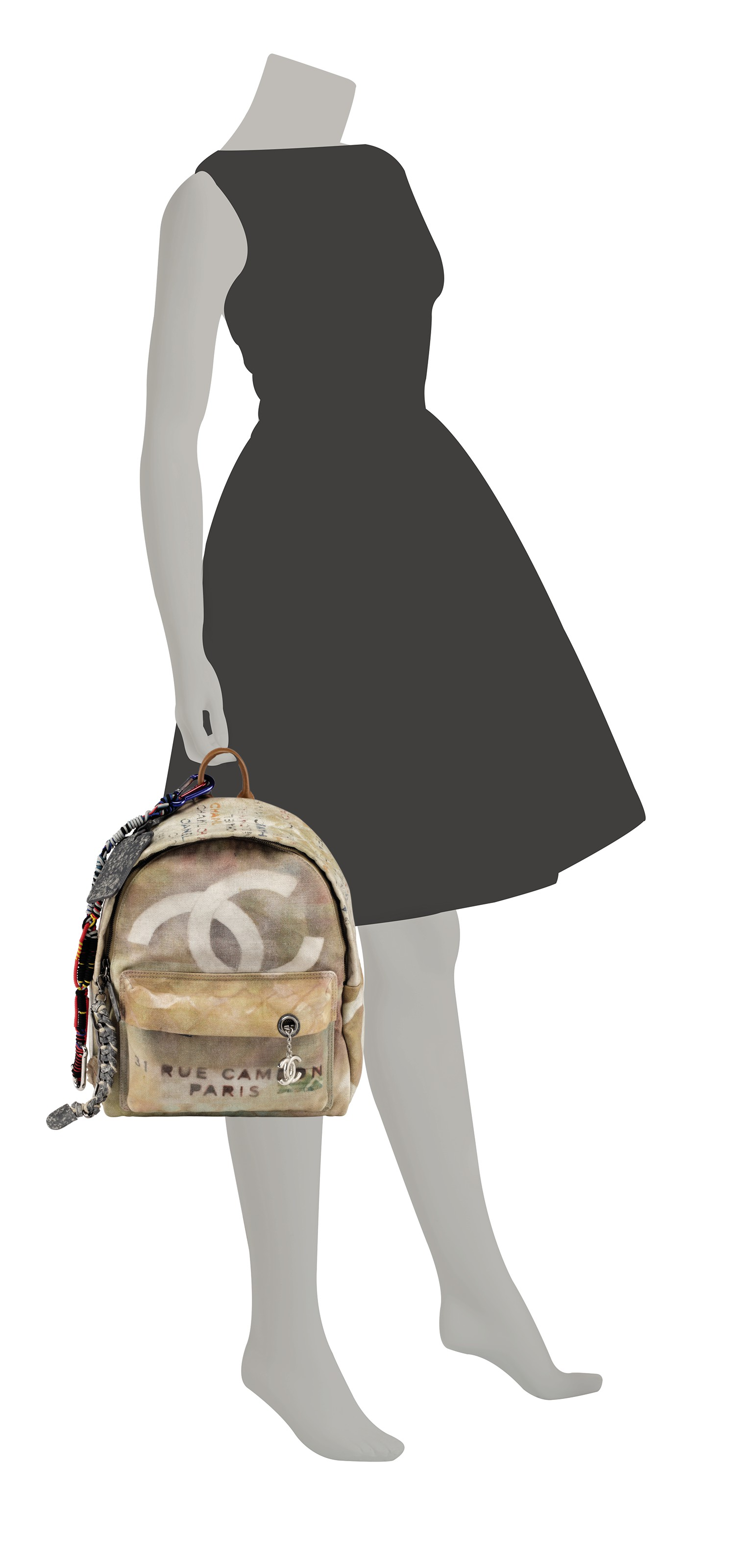 A RUNWAY NATURAL & MULTICOLOR ÉTOILE CANVAS GRAFFITI BACKPACK WITH ANTIQUE SILVER HARDWARE