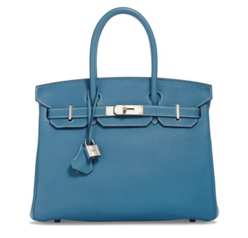 A Bleu Jean Togo Leather Birkin 30 With Palladium