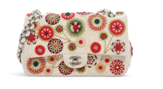 A METIERS D'ART PARIS-SALZBURG MULTICOLOR FELT EMBROIDERED DOUBLE FLAP BAG