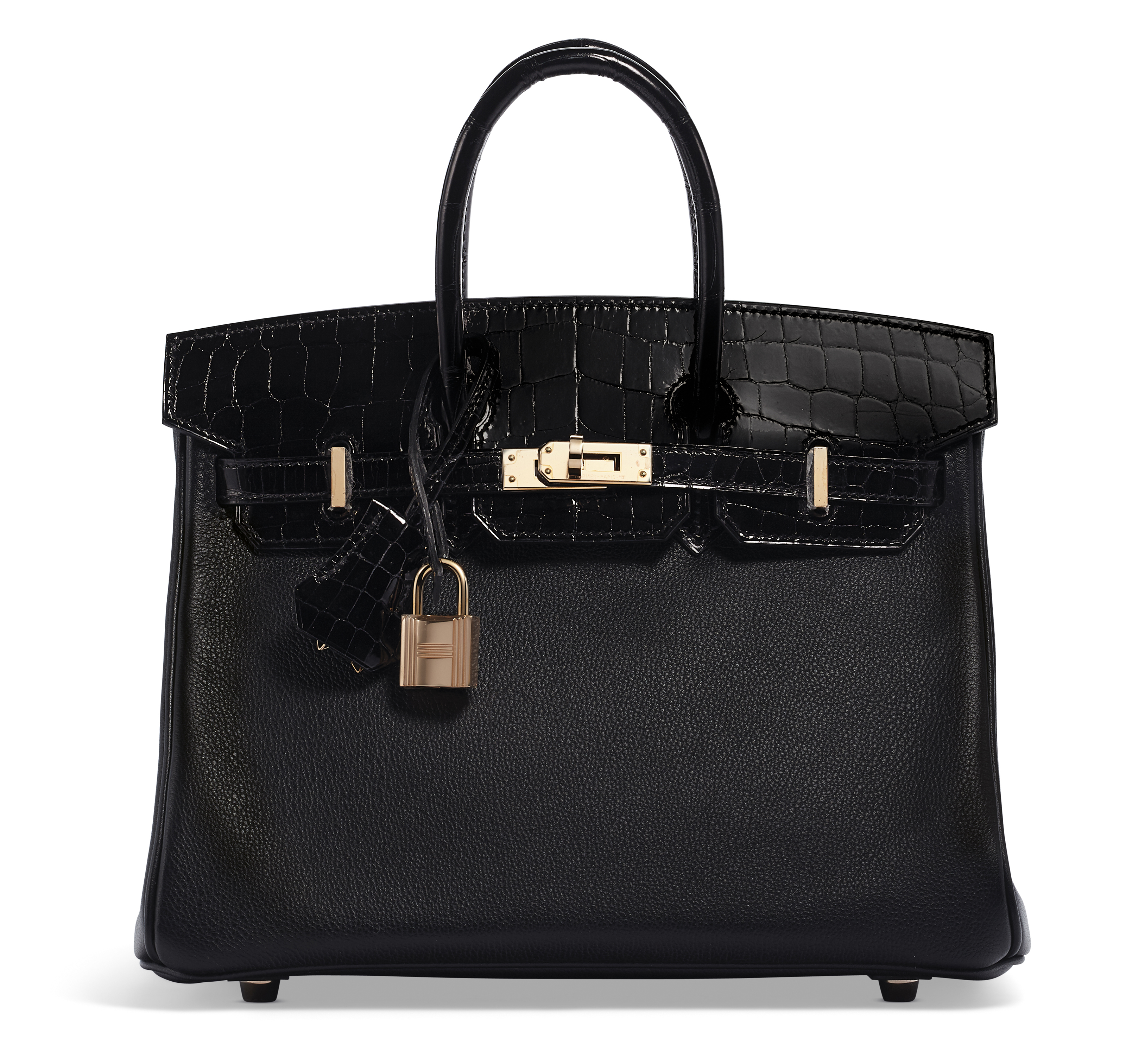 A LIMITED EDITION SHINY BLACK NILOTICUS CROCODILE & BLACK NOVILLO LEATHER TOUCH BIRKIN 25 WITH ROSE GOLD HARDWARE