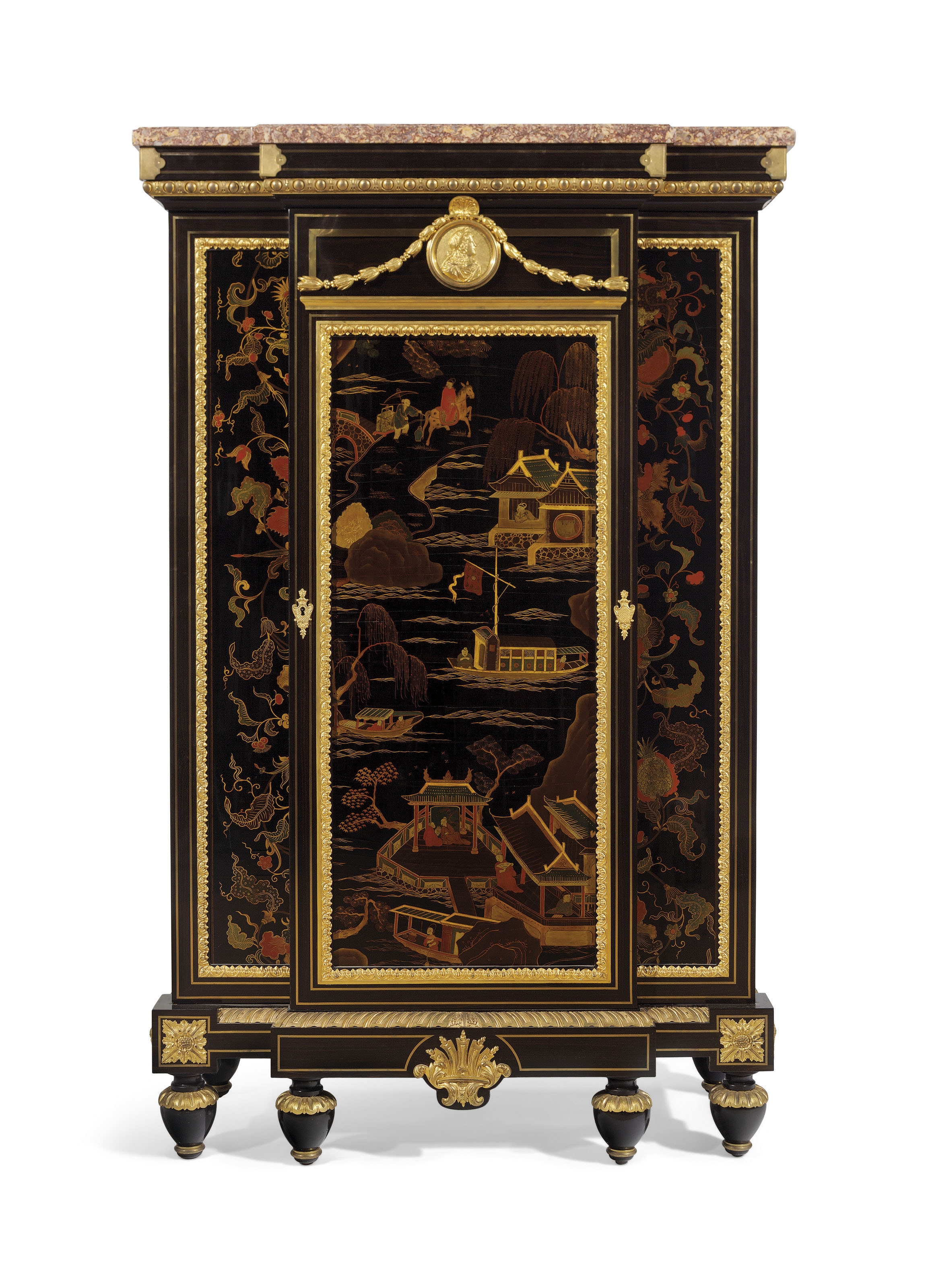 A FRENCH ORMOLU-MOUNTED AND BRASS-INLAID EBONY, EBONIZED, AND GILT-DECORATED JAPANESE LACQUER SIDE CABINET