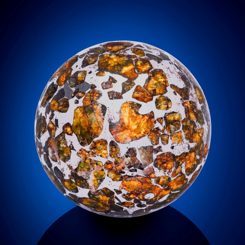 A Seymchan Meteorite Sphere — an Extraterrestrial Crystal Ball, Pallasite – PMG Magadan District, Russia. 53 x 53 x 53mm (2 x 2 x 2in). Estimate $10,000-15,000. This lot is offered in Deep Impact Martian, Lunar and Other Rare Meteorites, 7-14 February 2018, Online