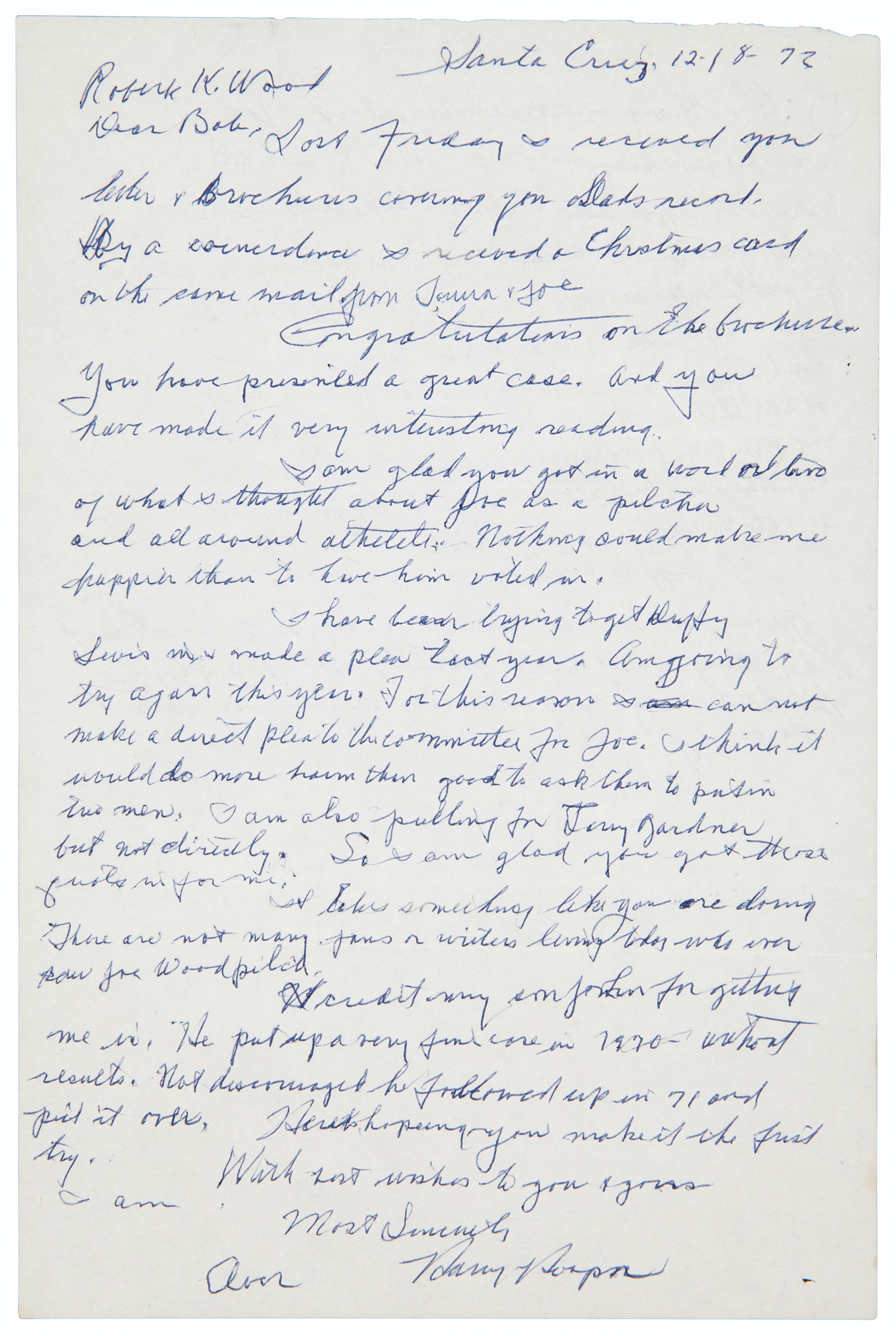Baseball handwritten letter collection christies baseball baseball handwritten letter collection spiritdancerdesigns Gallery