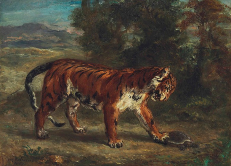 Eugène Delacroix (1798-1863), Tigre jouant avec une tortue, 1862. Oil on canvas. 17¾ x 24½  in (45.1 x 62.2  cm). Sold for $9,875,000 on 8 May 2018 at Christie's in New York