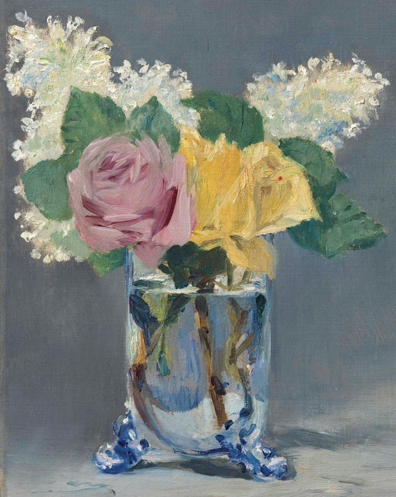Edouard Manet (1832-1883), Lilas et roses, 1882. Oil on canvas. 12¾ x 9¾ in (32.4 × 24.7 cm). Estimate $7,000,000-10,000,000. This lot is offered in The Collection of David and Peggy Rockefeller 19th & 20th Century Art, Evening Sale on 8 May at Christie's in New York