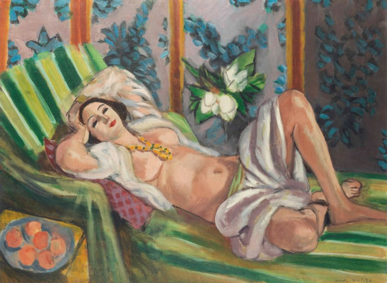 Henri Matisse (1869-1954), Odalisque couchée aux magnolias, painted in Nice, 1923. Oil on canvas. 23¾ x 31⅞ in (60.5 x 81.1 cm). Estimate on request. This lot is offered in The Collection of David and Peggy Rockefeller 19th & 20th Century Art, Evening Sale on 8 May at Christie's in New York. © 2017 Succession H. Matisse  Artists Rights Society (ARS), New York
