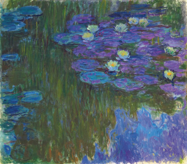Claude Monet (1840-1926), Nymphéas en fleur, circa 1914-1917. Oil on canvas. 63⅜ x 71⅛ in (160.9 x 180.8 cm). Estimate on request. This lot is offered in The Collection of David and Peggy Rockefeller 19th & 20th Century Art, Evening Sale on 8 May at Christie's in New York