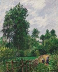 Paysage avec peupliers, temps gris, Eragny