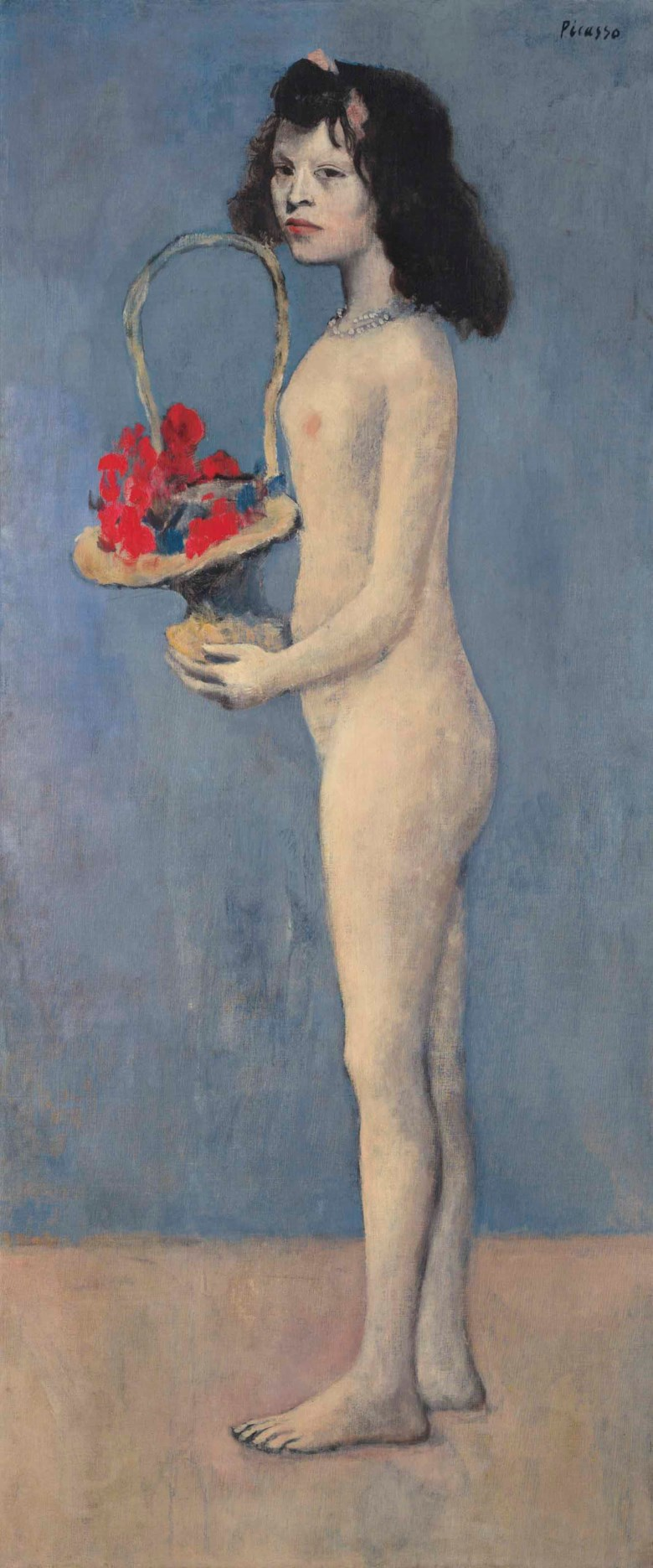 Pablo Picasso (1881-1973), Fillette à la corbeille fleurie, 1905. Oil on canvas. 60⅞ x 26 in (154.8 x 66.1 cm). Estimate on request. This lot is offered in The Collection of David and Peggy Rockefeller 19th & 20th Century Art, Evening Sale on 8 May at Christie's in New York © 2017 Estate of Pablo Picasso  Artists Rights Society (ARS), New York.
